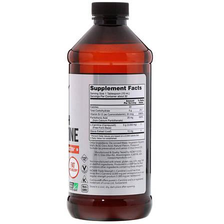 L- Карнитин Жидкий с Цитрусовым Вкусом, L-Carnitine, Now Foods, 3000 мг, 473 мл, фото 2