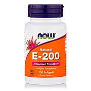 Витамин Е, Е-200, Now Foods, 100 желатиновых капсул