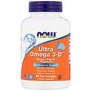 Ультра Омега 3 и Витамин D, Ultra Omega 3-D, 90 Гелевых Капсул