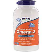 Омега-3 1000мг, 180 EPA/120 DHA, Molecularly Distilled Omega-3, Now Foods, 200 капсул из рыбьего желатина