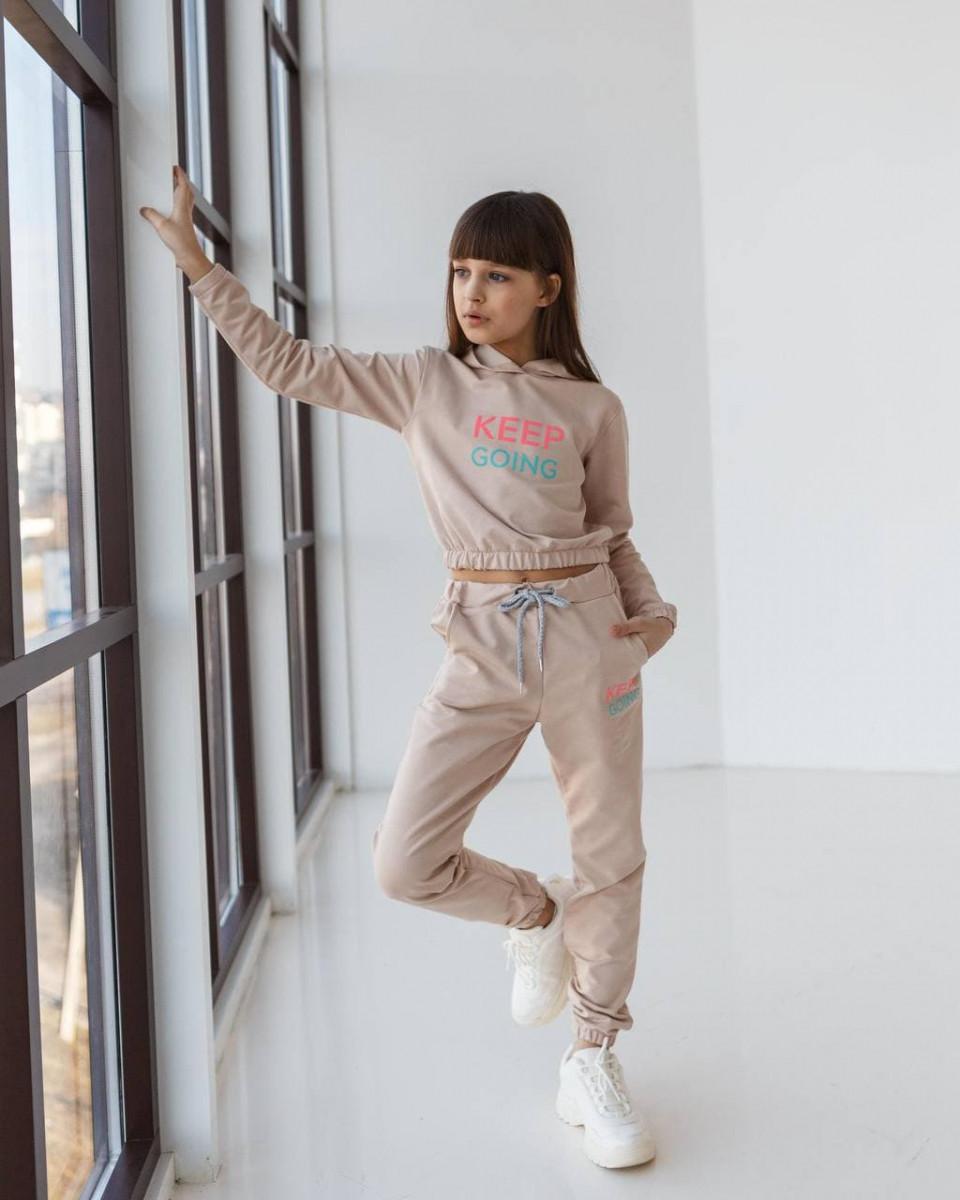 Дитячий спортивний костюм для дівчинки бежевий оптом keep going