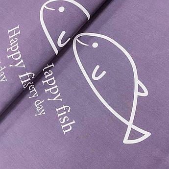 """Ткань бязь Gold """"Счастливые рыбки на сером"""" 220 см"""