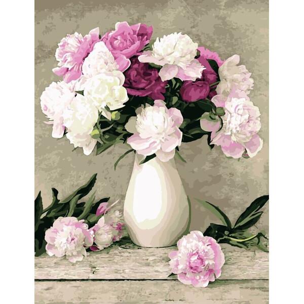 Картина за номерами Brushme Ніжні білі і рожеві півонії у вазі Розфарбування Розпис 40 х 50 см Квіти (57968)