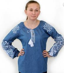 """Вышитая льняна блуза """"Ольга"""" джинсового цвете с белой вышивкой"""