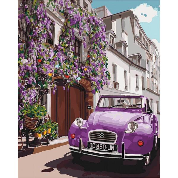 Картина по номерам Идейка Фиолетовый ретро автомобиль Раскраска Роспись 40 х 50 см (57991)