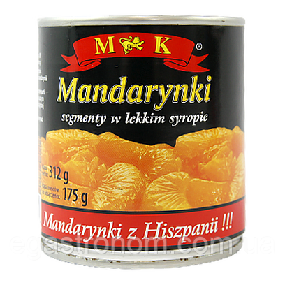Фрукти консервовані МК мандаринки MK mandarynki 312g/175g 12шт/ящ (Код : 00-00005783)