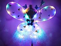 Костюм Фея для девочки светодиодный карнавальный крылья юбка обруч волшебная палочка Фиолетовый