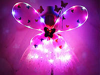 Костюм Фея для девочки светодиодный карнавальный крылья юбка обруч волшебная палочка Розовый