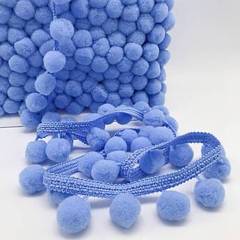 Тесьма с помпонами 20 мм голубые