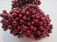 Калина бордовая (темно-красная) декоративная лакированная, соцветие из 50 ягод, диаметр ягоды 8 мм