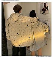 Куртка-ветровка унисекс светоотражающая  с капюшоном, фото 1