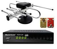 Комплект Т2 World Vision T625A LAN + комнатная антенна Волна с усилителем Super 1000