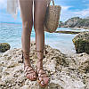 женские сандалии с ремешками , летние пляжные шлепки на плоской подошве  на шнуровке