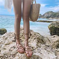 женские сандалии с ремешками , летние пляжные шлепки на плоской подошве  на шнуровке, фото 1