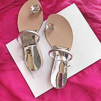 Сандалии женские шлепки бантом и  бриллиантом, фото 1