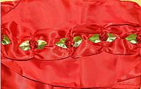 Пояс праздничный, из атласа, красный,  ручной работы