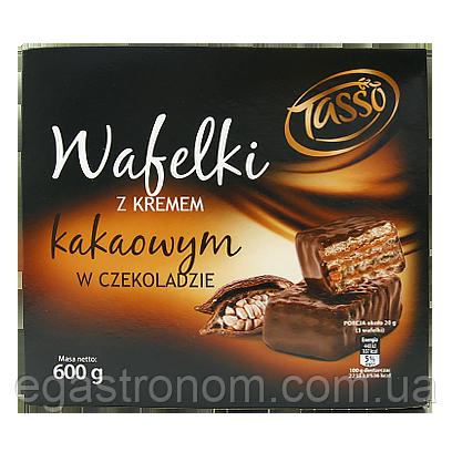 Вафлі Тассо з шоколадним кремом Tasso z kremem kakawowum w czekoladie 600g 10шт/ящ (Код : 00-00005759)