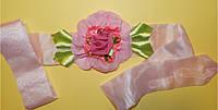 Пояс праздничный, из ткани, розовый,  ручной работы