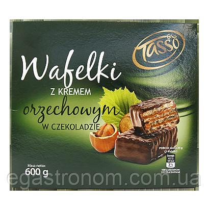 Вафлі Тассо з горіховим кремом Tasso z kremem orzechowym w czekoladie 600g 10шт/ящ (Код : 00-00005836)