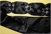 Пояс праздничный, из атласа, черный,  ручной работы