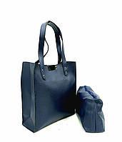 Сумка женская из экокожи 2в1 шопер+клатч 44х23х9 см Жасмин синяя