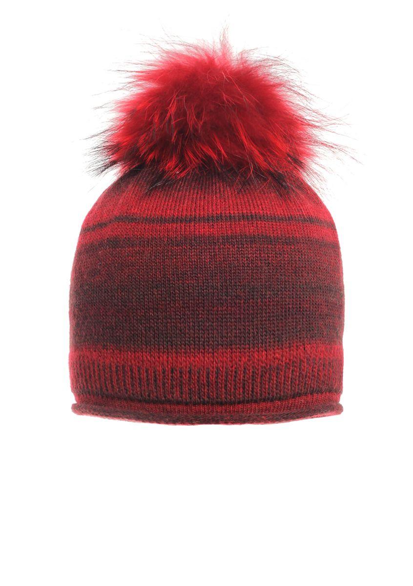 Жіноча красива оригінальна в'язана шапка зі стильним хутряним бумбоном.