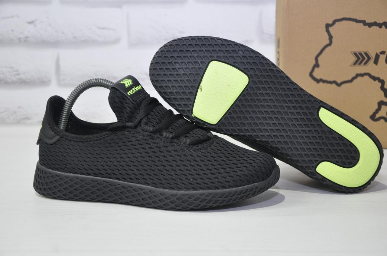 Подростковые мужские летние кроссовки сетка черные Restime(размеры в наличии 36-41)