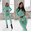 Мятный велюровый спортивный костюм женский (4 цвета) FL/-9758