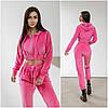 Малиновый велюровый спортивный костюм женский (4 цвета) FL/-9758