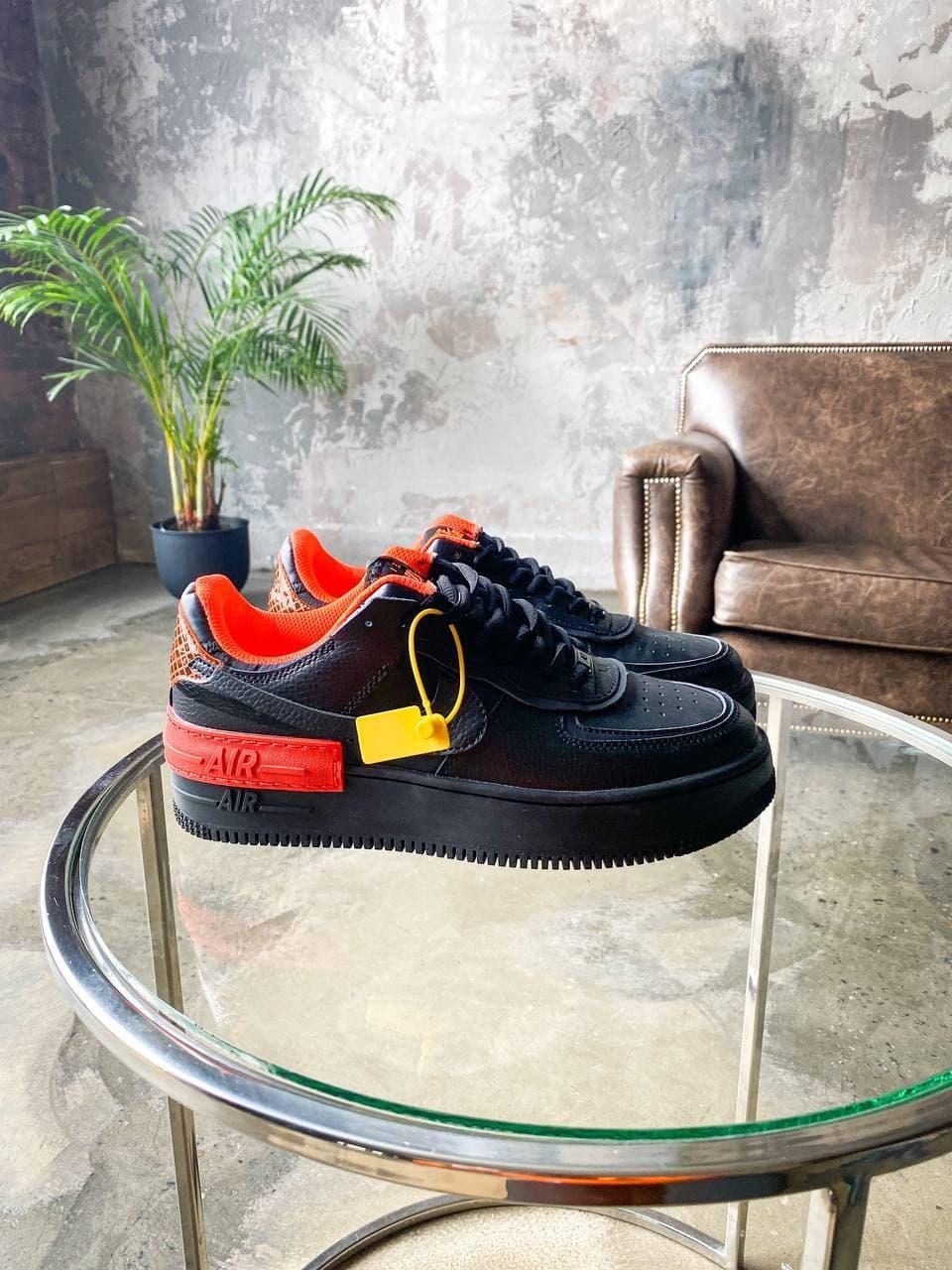 Чоловічі кросівки Nike AF1 Shadow (чорно помаранчеві) K3308 повсякденні світлі кроси