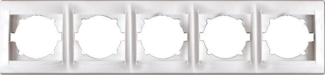 Рамка п'ятимісна для розеток та вимикачів Erste Prestige біла (9206-85)