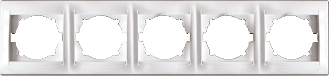 Рамка п'ятому ятимісна для розеток та вімікачів Erste Prestige біла (9206-85)