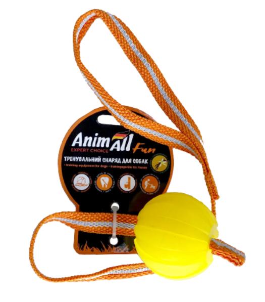 Іграшка AnimAll Fun м'яч-тренінг з шлейкой, жовтий, 6 см