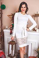 Платье белое Ангора с гипюром
