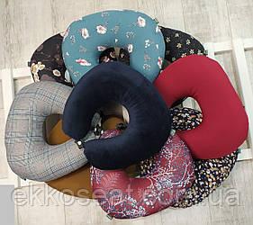 Дорожные подушки под голову EKKOSEAT. Универсальные. Цветы. Клетка, Моно.
