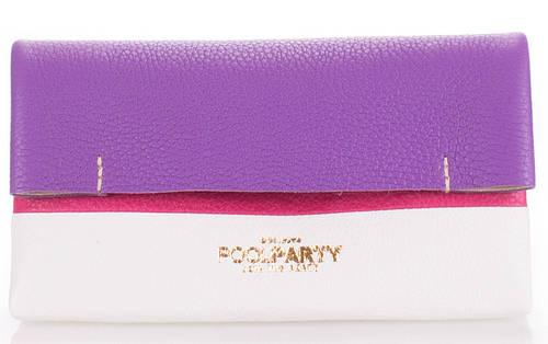 Стильная женская косметичка-клатч из натуральной кожи POOLPARTY 2NITE 2nite-violet-white-pink фиолетовая