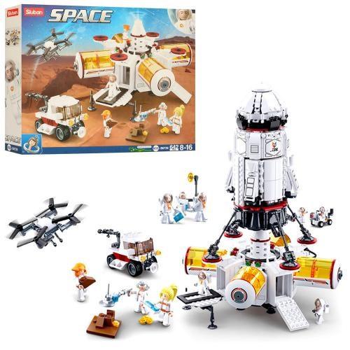 KMM38-B0739 Конструктор космическая станция-база SLUBAN: фигурки, 642 деталей, в коробке 47,5-38-8 см