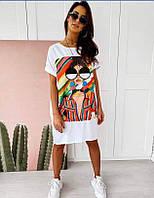 Платье футболка мини женское стильное с крутым принтом Smol5570