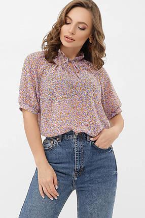 Шифонова жіноча блузка в квіточку розмір S M L XL, фото 2