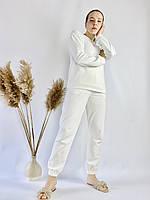 Молочный белый спортивный женский костюм легкий из хлопка размер L, фото 1