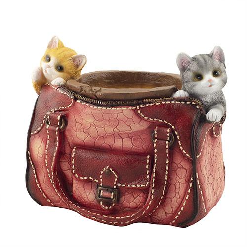 Кашпо Decoline Шкіряна сумка з кошенятами (гіпс) K0209(G)