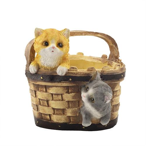 Кашпо Decoline Кошик з кошенятами (гіпс) K0306(G)