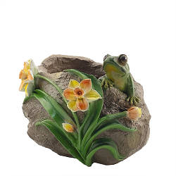 Кашпо Decoline Лягушка с цветами (гипс) K0726(G)