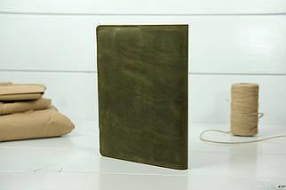 """Обложка для блокнота А5 """"Модель № 2"""", Винтажная кожа, цвет Оливковый, фото 2"""