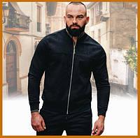 Мужская замшевая легкая куртка без капюшона черная, стильный бомбер на молнии Asos Турция