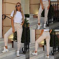 Жіночі стильні замшеві штани на манжеті