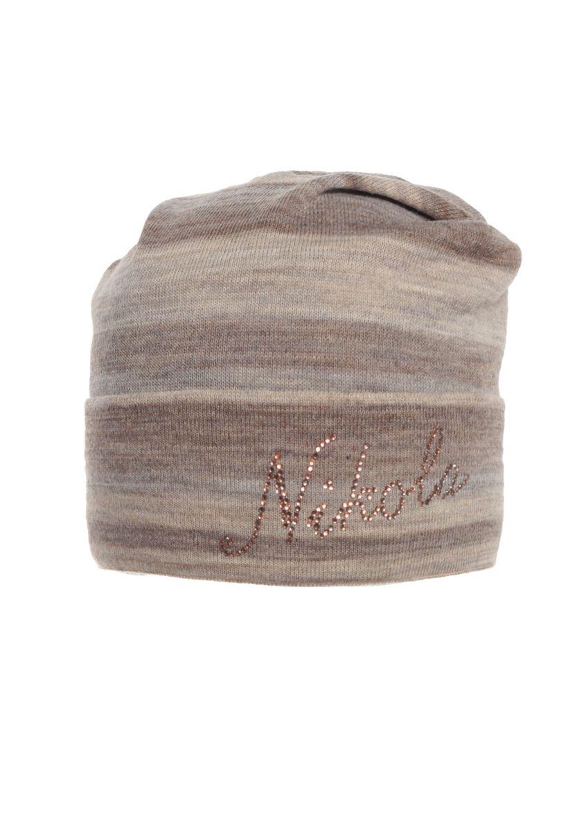Красивая теплая вязаная женская шапка украшенная бусинами с брендом