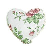 Подушка Прованс Large pink rose Сердце с кружевом 32х32см