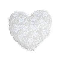 Подушка Прованс White Rose Сердце с кружевом 32х32см