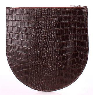 Эксклюзивная косметичка женская из натуральной кожи POOLPARTY cosmetic-pp1-croco-brown коричневая